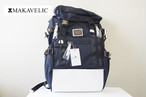 【Sold Out】マキャベリック|MAKAVELIC|バックパック|リュックサック|SIERRA SUPERIORITY DOUBLE BELT BACKPACK|3105-10109|ネイビー×ホワイト