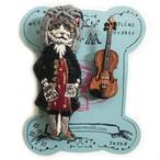 刺繍ミニブローチNyach and violin