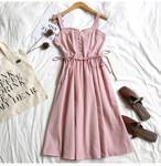 【dress】デートワンピース無地合わせやすいシンプルキャミソール
