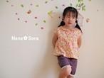 USAコットン・丸衿フレンチスリーブブラウス 花柄 オレンジ