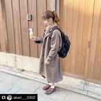 【送料無料】 ゆるカジアウター♡ グレンチェック ロング ウール コート ジャケット 秋 冬 アウター
