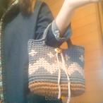 手編み 柄編み2wayトートバッグ ショルダー Tシャツヤーンとコットンロープ底 ギザギザバッグ