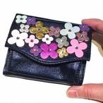 フラワーブーケ三つ折りミニ財布(ネイビー) ✜(限定各1点)