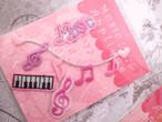 ミュージックワッペン 4種【A】 ト音記号、音符、鍵盤、ハート、音楽
