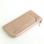 <送料無料>薄くて軽くて大容量な長財布 14ZipWallet 牛革レース型押し コーラルピンクSqueeze