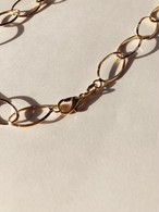 Oval PaperClip Chain Pearl Necklace