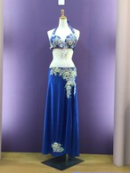 ベリーダンス衣装 エジプシャンスタイル ブルー Sサイズ