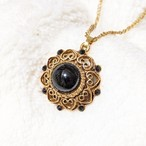 vintage necklace Black × Heart circle × Swarovski