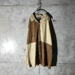 [used] 2 colours switching suede shirt