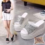 サンダル 厚底 ウェッジソール スパンコール オープントゥ ハイヒール レディース 靴 シューズ 白 黒 ホワイト ブラック