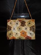 ベージュビーズビィンテージバック beige color bead vintage bag (made in Japan)(No40)