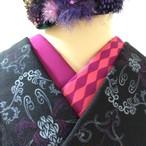 【キャバレー紫ピンク】半衿 アシンメトリ