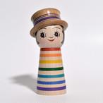 ギョロ目ちゃんこけし(レインボー帽子付) 約3.5寸 約10cm 山谷レイ 工人(津軽系)#0303