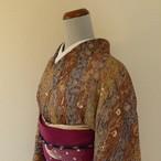 正絹綸子 八掛撫子柄の総柄小紋 袷の着物