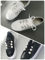 リアルレザーパールスニーカー スニーカー 韓国ファッション