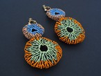 ARRO / Embroidery earing / CORAL EGG / ORANGE