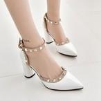 【shoes】パンプス綺麗系めざす女子必見無地ファッションハイヒールとんがりトゥ