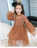 2色展開 シフォン シースルー 女の子 salmonpink blue dress wedding princess autumn winter kids baby 秋冬 ブライダル キッズ ドレス