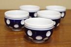 水玉の湯呑み 5客セット アイスクリームカップや小鉢にも シンプル 昭和レトロと古道具