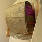 正絹 カーキ色の茶屋辻柄の袋帯