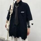 ゴスロリ系 シャツ 半袖 ネクタイ リングチェーン 裾切りっぱなし 病み可愛い ストリート系 オルチャン 10代 20代