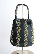 撫菜刺繍のバッグ(evh009A ベージュ・ダークグリーン・グレー)