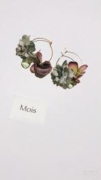 布花のフープピアス