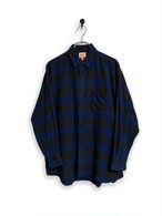 Block check flannel shirt / blue