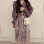 カシュクール セーター × 花柄 キャミワンピース ワンカラー 2set B2757