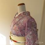 正絹ちりめん 紫に花の総柄 袷の着物