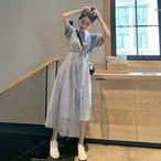 【dress】半袖無地ファッション着痩せカジュアルワンピース