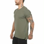 【ASRV】CottonPlus™ メッシュバックロールスリーブTシャツ - Olive