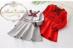 2色展開 トリコロール グログラン かわいい 女の子 長袖 バック リボン ワンピース 子供服 キッズ ガールズ
