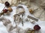 【9月のspecial set】裂き布のシュシュantique (ecru)& 裂き布フープイヤリング  plisse  perle (ecru)