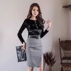 【セットアップ】長袖ファッションTシャツ+スリットスカートセットアップ14945281