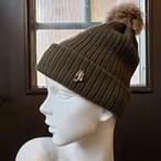 イニシャルニット帽(カーキ)