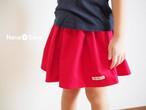 USAコットン・フランネルのシンプルギャザースカート(無地・レッド)