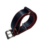 DELUXE NYLON NATO TYPE WATCH STRAP /  Navy color with Red trim lines