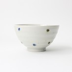 【SL-0071】磁器 11.6cm ご飯茶碗 ドットブルー デザイン1