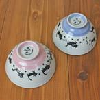 【お散歩ねこ】茶碗 【お茶碗 猫柄 肉球付 猫雑貨】