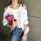 【送料無料】 トレンドの肩あき♡ オープンショルダー トップス Tシャツ カットソー シンプル