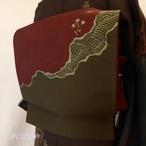 正絹紬 深い蘇芳と青白橡(あおしろつるばみ)の袋帯