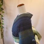 【A様ご予約品】正絹紬 藍に縞の小紋 単衣