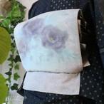 正絹 薄墨に花のなごや 作家物