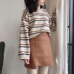 ストライプニットセーター+スカート