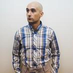 チェック 長袖 BDシャツ 100/2 ブロード Off White/Beige/Blue