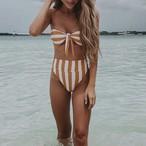 Bikini♡オレンジストライプハイウエストバンドゥビキニ