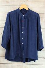 BL38 スタンドカラーブラウス 7分袖【M46 藍染絣柄】
