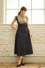 One Shoulder Denim Long Skirt