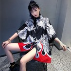 【tops】プリント半袖ファッションPOLOネックシングルブレストシャツ17630574